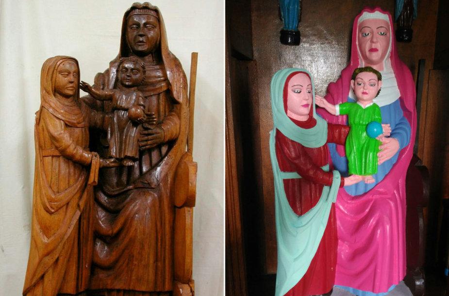 Ispanijoje nevykusiai restauruota mdinė Mergelės Marijosskulptūra