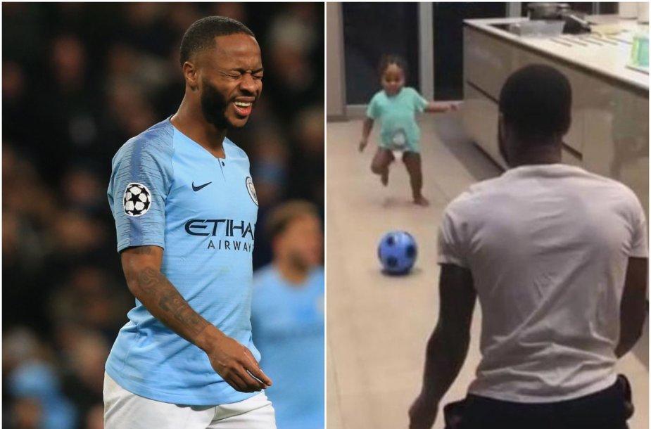 Reheemas Sterlingas jau išmokė sūnų, kaip spirti kamuolį.