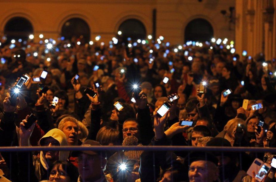 Protestas prieš interneto mokestį Budapešte