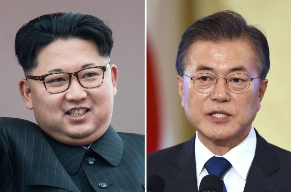 Kim Jong Unas ir Moon Jae-inas