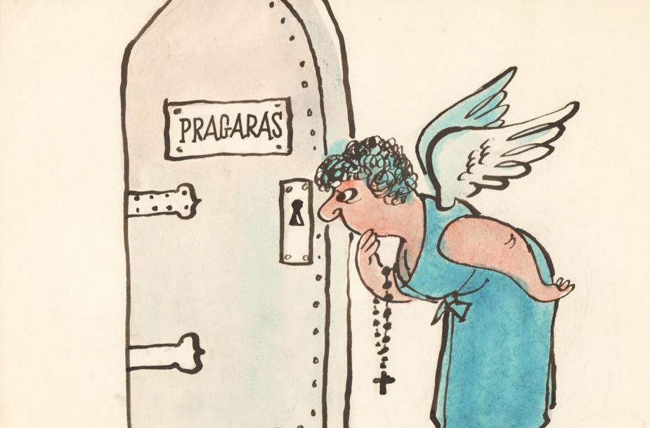 Juozo Kasčiūno 1963 m. sukurta antireliginė karikatūra