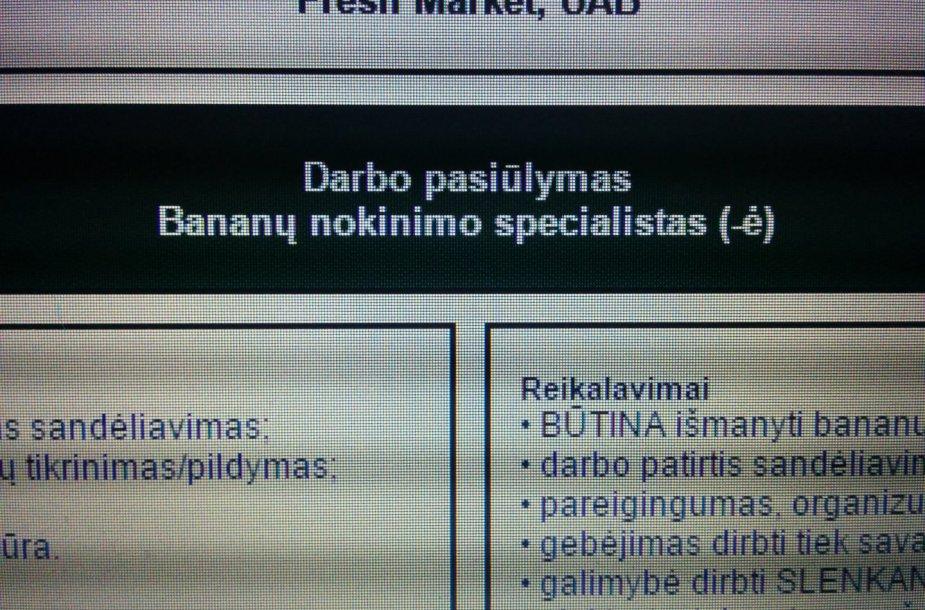 Prekybos centras Kaune ieško bananų nokinimo specialisto