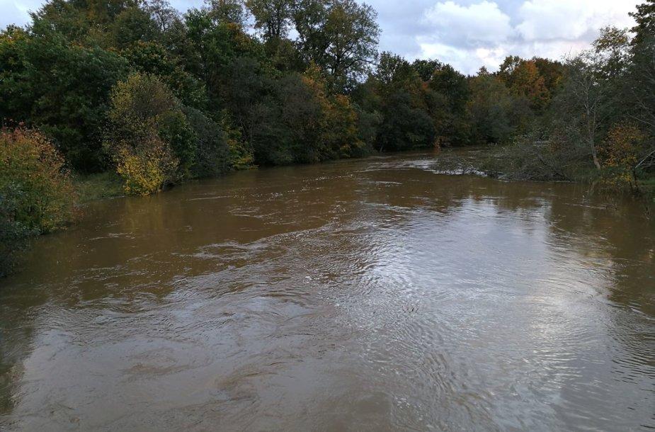 Danės upės vandens lygis dėl lietaus yra stipriai pakilęs.