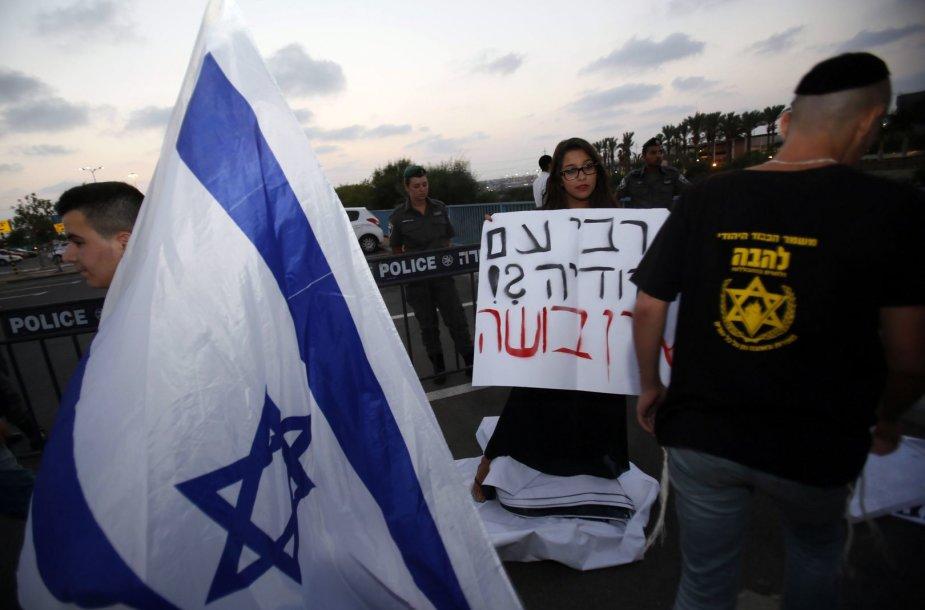 Izraelį palaikantys protestuotojai