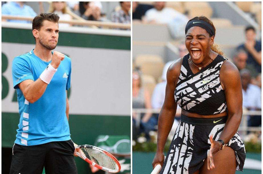 Dominicas Thiemas ir Serena Williams