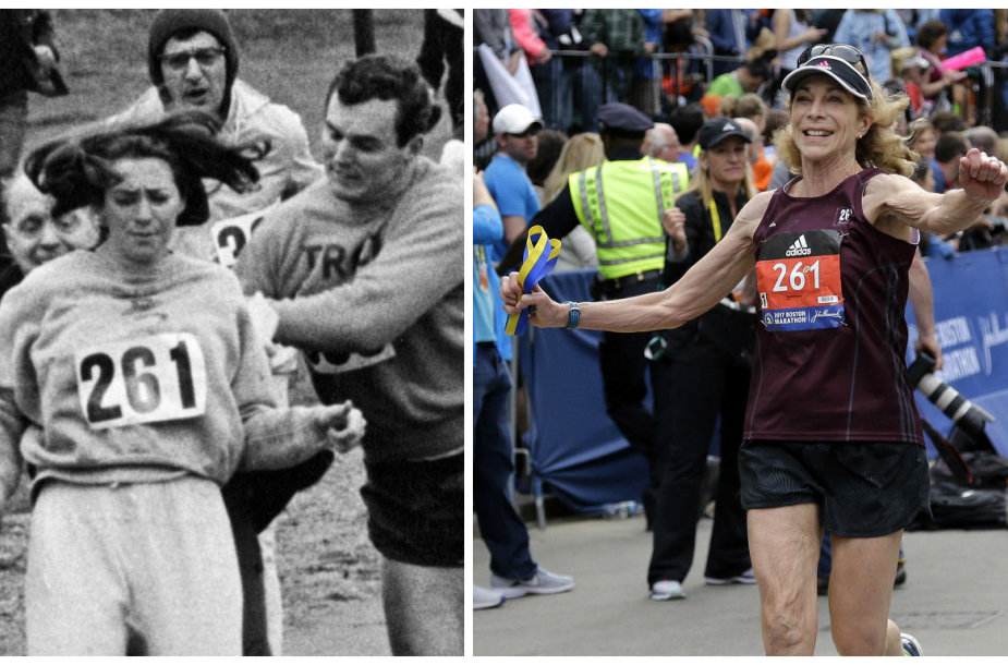 Kathrine Switzer bėga Bostono maratone 1967 ir 2017 m.