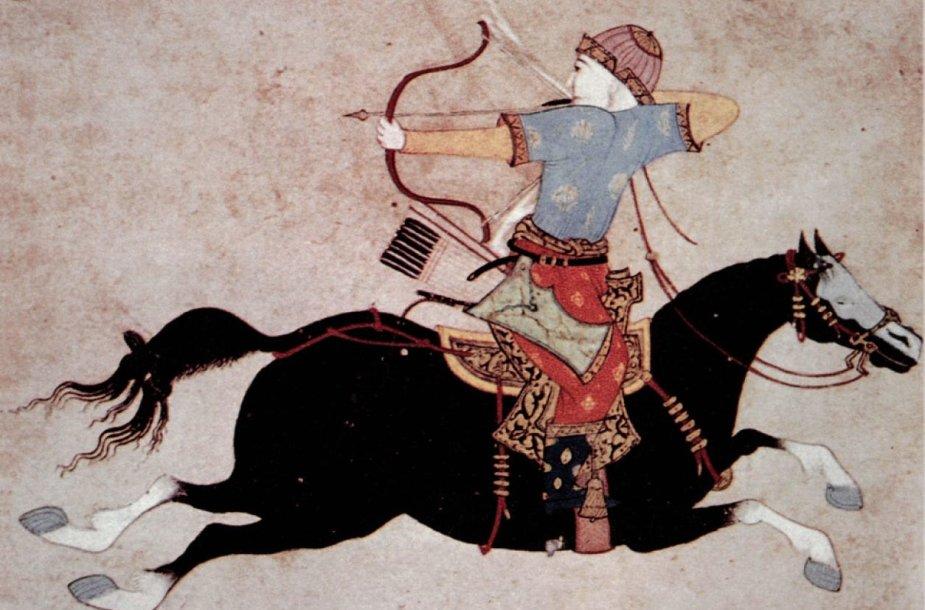 Mongolų raitininkas – su lanku ir joja stačias