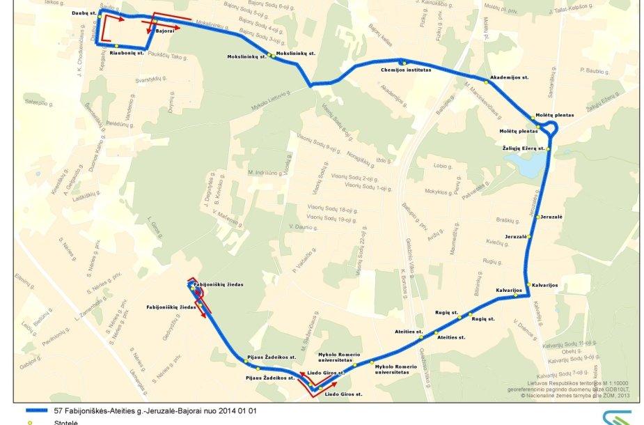 Naujas 57 autobuso maršrutas