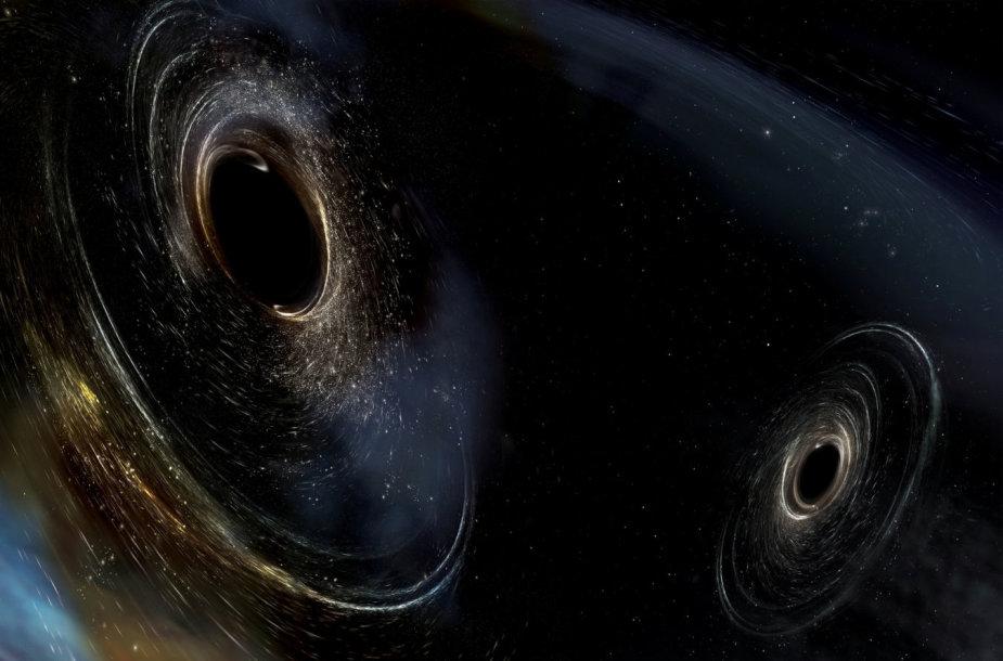 Dvi besijungiančios juodosios skylės