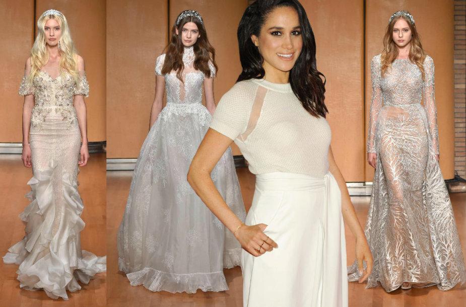 Meghan Markle ir dizainerės Inbal Dror kurtos vestuvinės suknelės