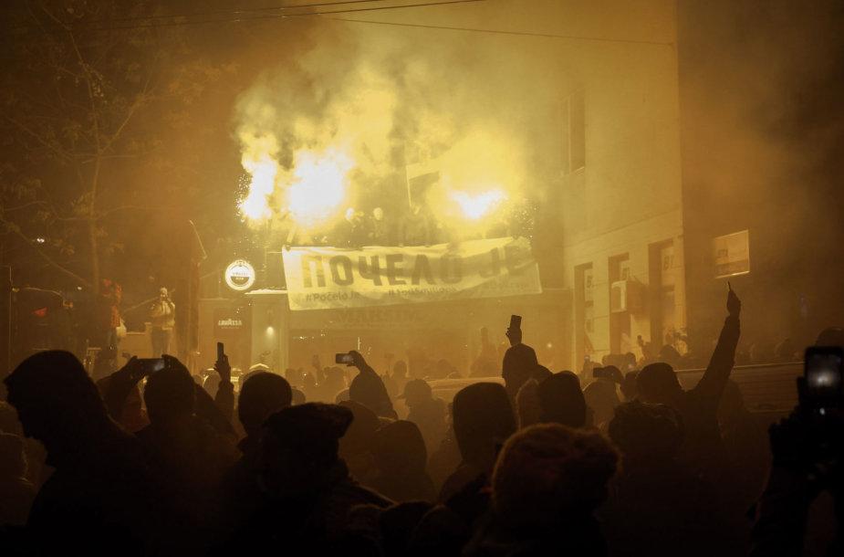 Protestuotojai Serbijoje