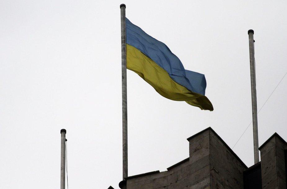 Ukrainos vėliava ant vyriausybės pastato Donecke