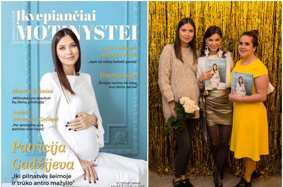 """Patricija Gadžijeva su žurnalo """"Įkvepiančiai motinystei"""" kūrėjomis Laura Mazaliene ir Akvile Razauskiene"""