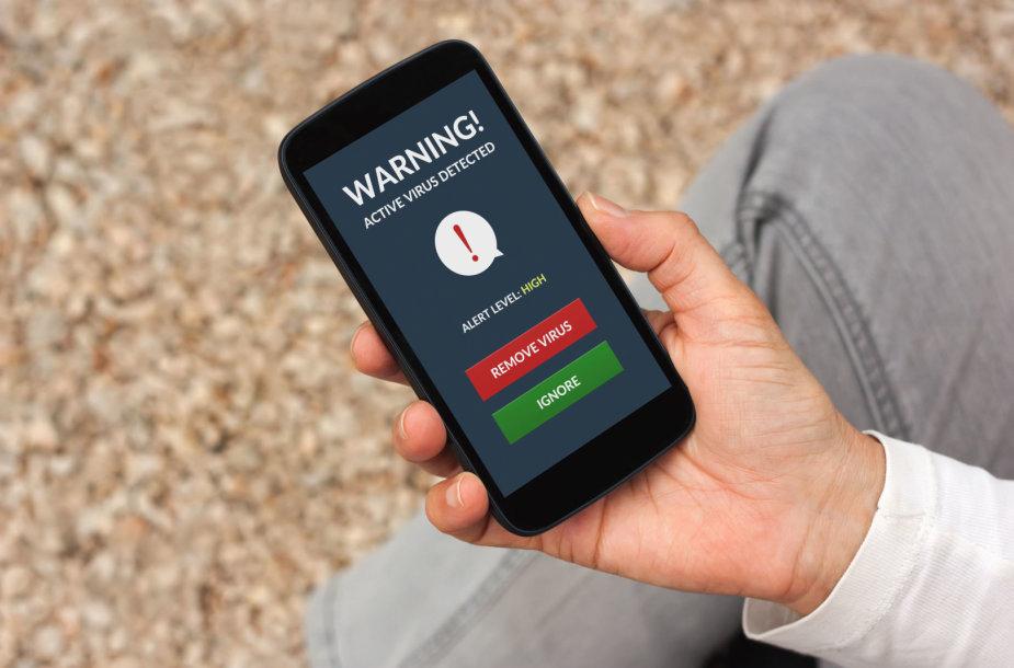 Įspėjimas apie virusą išmaniajame telefone
