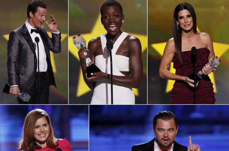 Matthew McConaughey, Lupita Nyong'o, Sandra Bullock, Amy Adams ir Leonardo DiCaprio