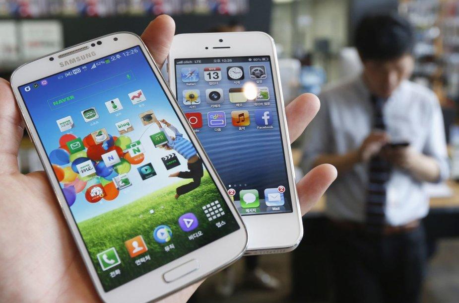 """Išmanieji """"Samsung"""" ir """"Apple"""" telefonai"""