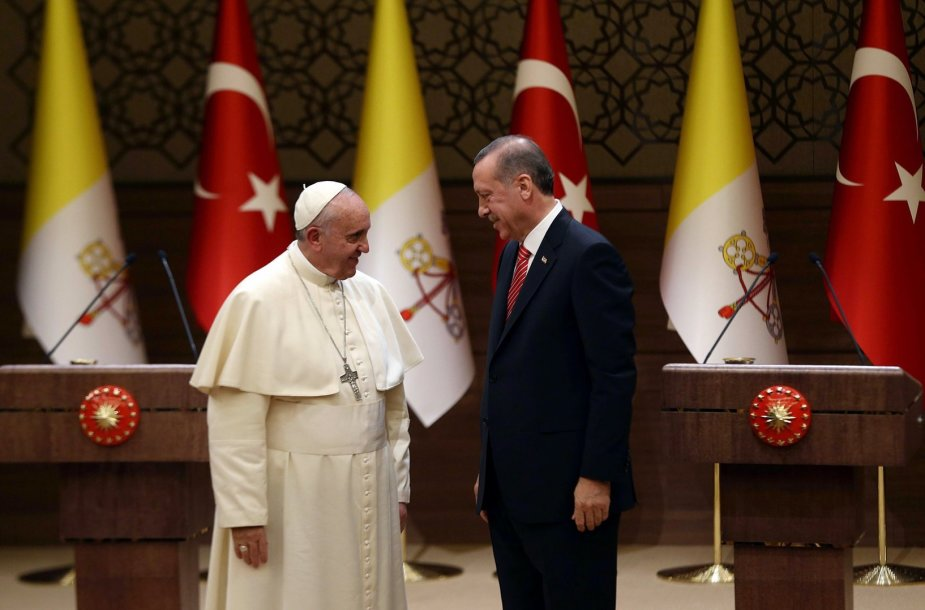 Popiežius Pranciškus ir Turkijos prezidentas Recepas Tayyipas Erdoganas