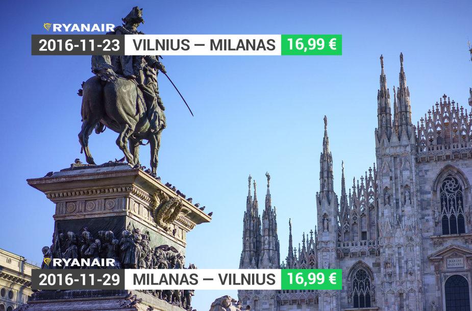 Madų sostinė Milanas – vos už 33,9 euro į abi puses