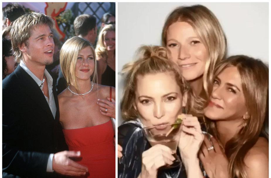 Jennifer Aniston su Bradu Pittu 2000 metais ir draugėmis Kate Hudson bei Gwyneth Paltrow per savo gimtadienio vakarėlį