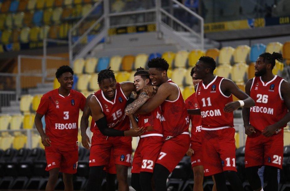 """""""Monaco"""" krepšininkai švenčia pergalę Europos taurės pusfinalyje"""
