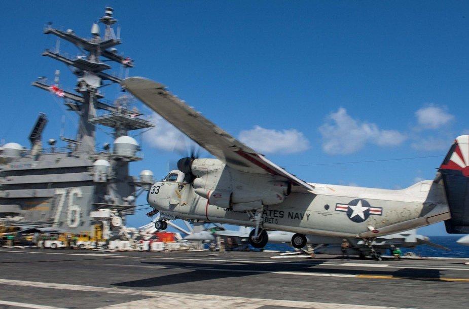 """Archyvinė sudužusio lėktuvo """"Grumman C-2A Greyhound"""" nuotrauka"""