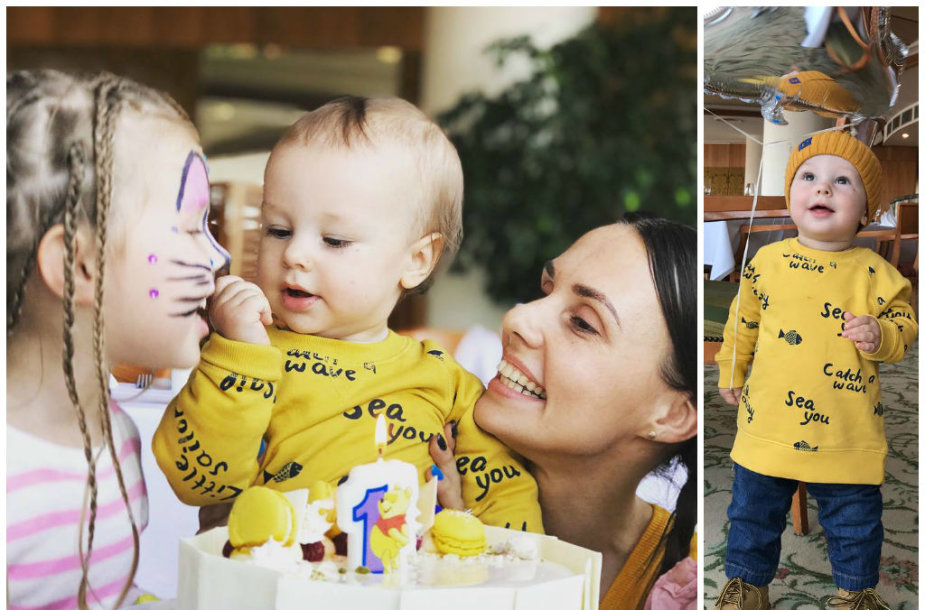 Veronika Montvydienė su sūnumi Kajumi ir dukra Adele