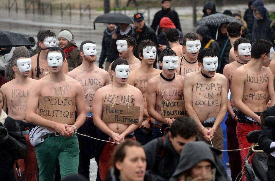 Protestas prieš Prancūzijos prezidentą Francois Hollande'ą