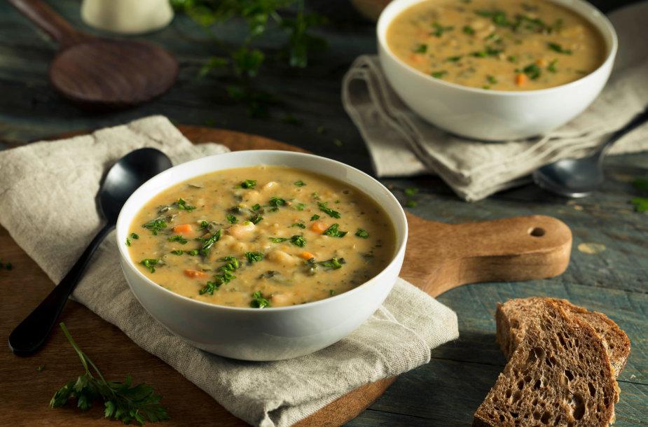 Šviežių daržovių ir pupelių sriuba