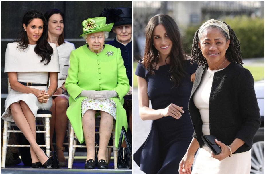 Sasekso hercogienė Meghan su karaliene Elizabeth II ir mama Doria Ragland