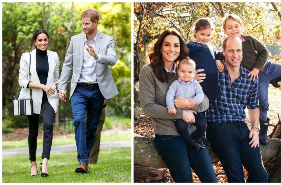 Princas Harry su žmona Meghan ir princas Williamas su žmona Catherine bei vaikais