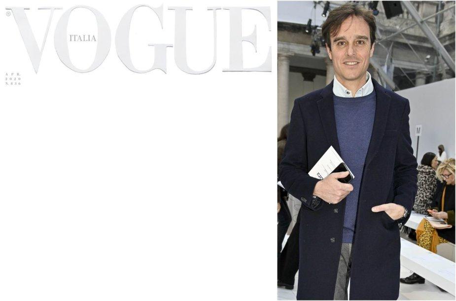 """Balandžio mėnesio """"Vogue Italia"""" viršelis ir vyr. redaktorius Emanuele Farneti"""