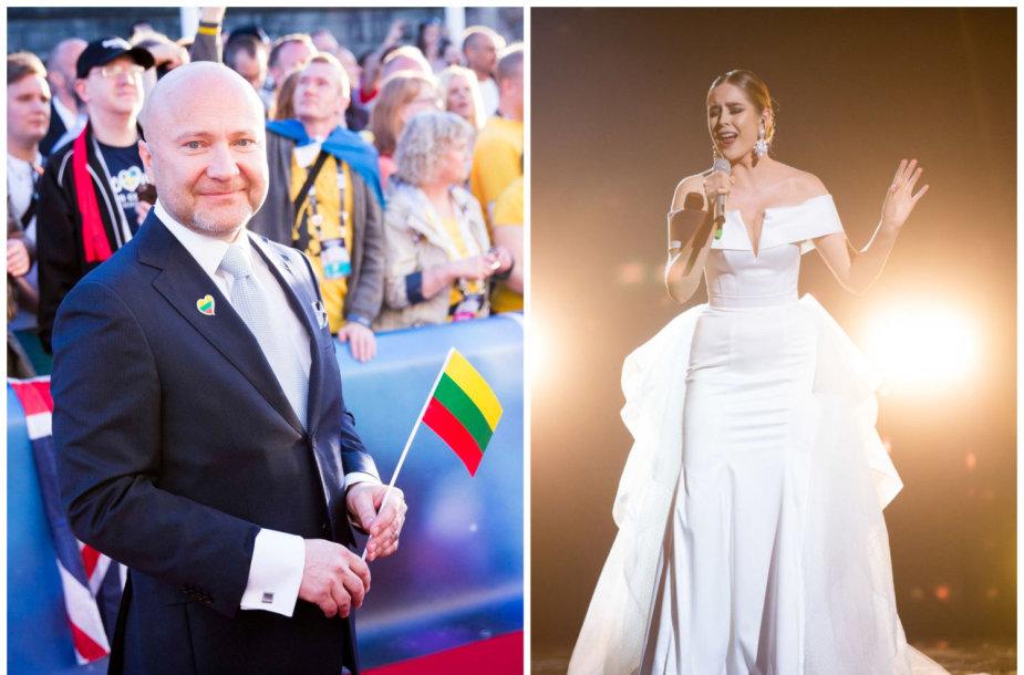 """Lietuvos delegacijos vadovas """"Eurovizijoje"""" Audrius Giržadas ir finalininkė Monika Marija"""
