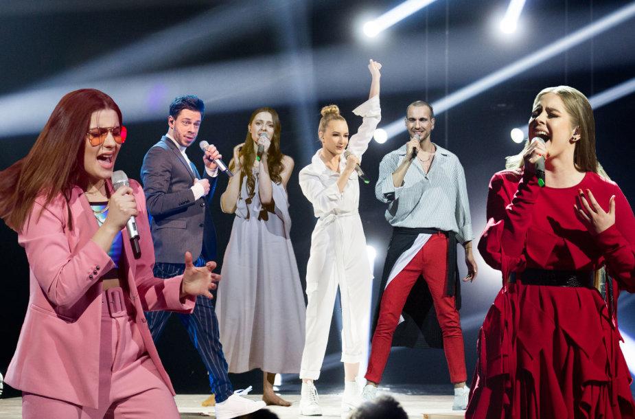 """""""Eurovizijos"""" finalininkai (iš kairės): Kotryna Juodzevičiūtė, Jurgis Brūzga, Ieva Zasimauskaitė, Paula, """"The Roop"""" ir Monika Marija Paulauskaitė"""