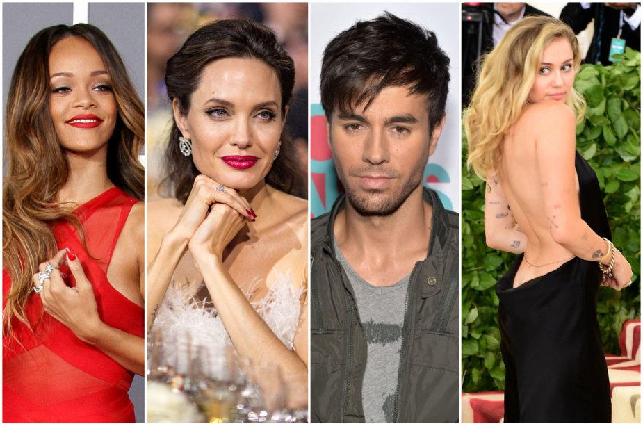 Rihanna, Angelina Jolie, Enrique Iglesias ir Miley Cyrus