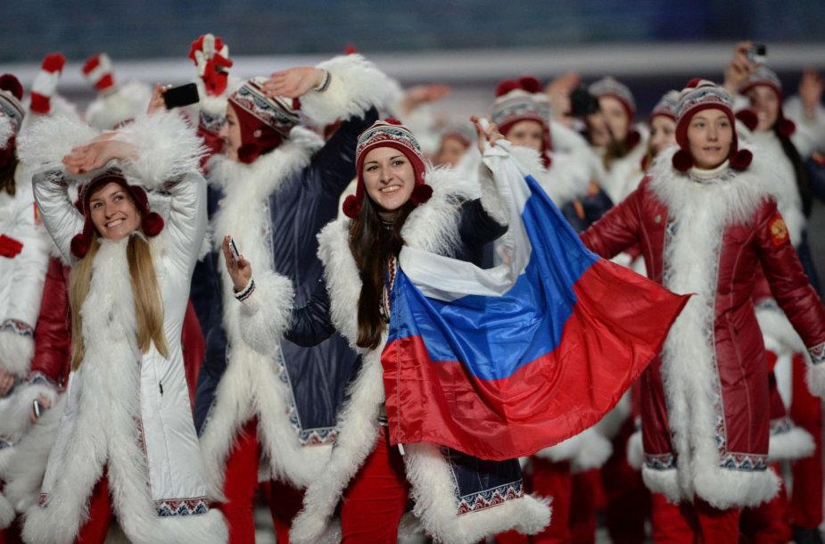 Rusijos komanda olimpinėse žaidynėse Sočyje.