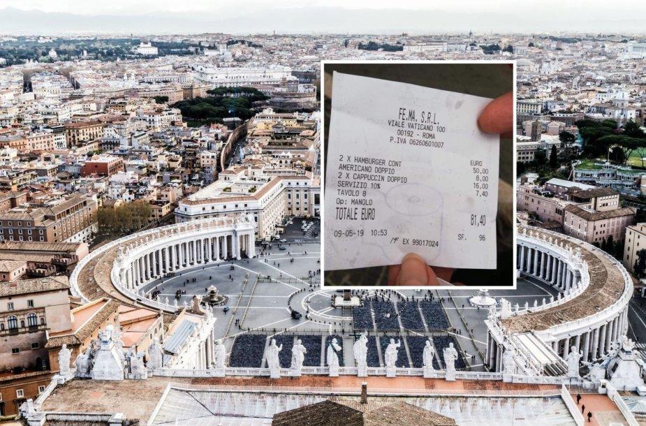 Turistai Romoje įsiuto: už du mėsainius ir kavą – 81 Eur sąskaita