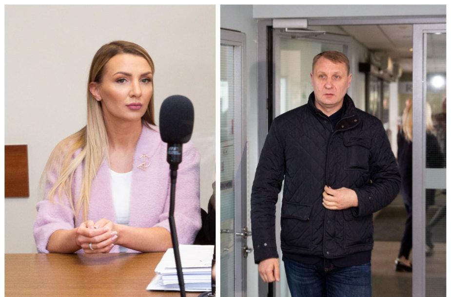 Monika ir Andrius Šedžiai antradienio rytą susitiko teisme