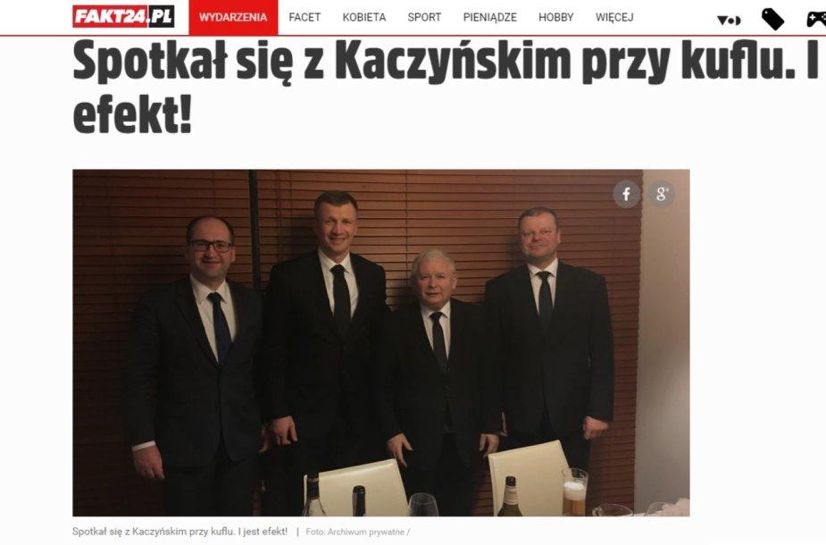 Sauliaus Skvernelio ir Jaroslawo Kaczynskio susitikimas prie alaus