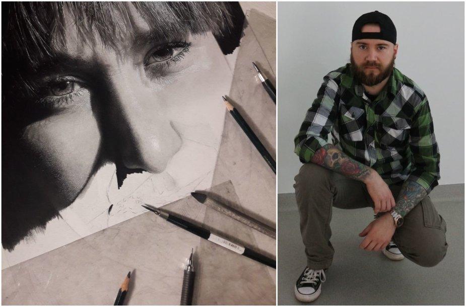 Tomas Ostrauskas ir jo piešiamas žmonos portretas
