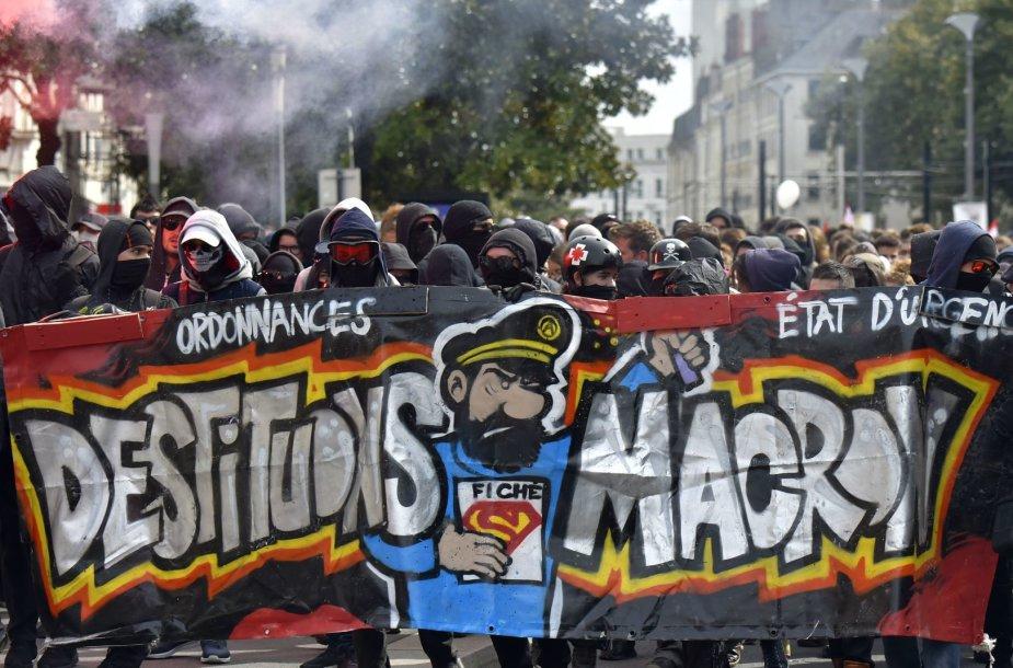 Protestuojantys prancūzai