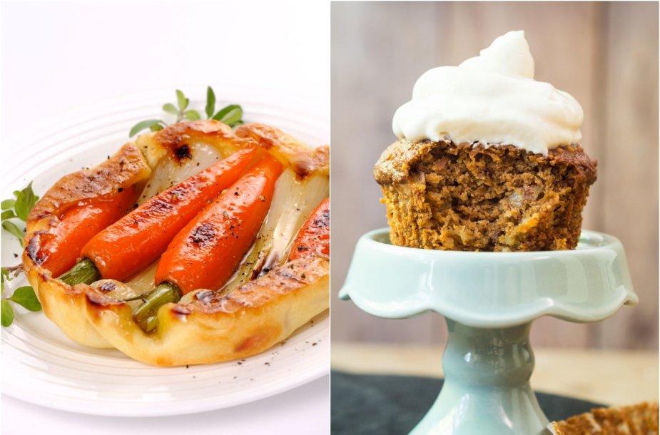 Nesaldus pyragėlis su morkomis ir morkų keksiukas