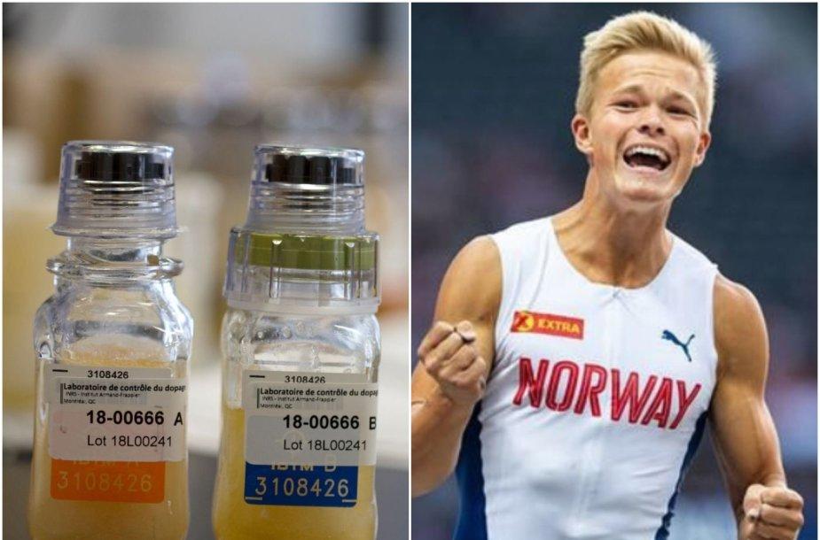 Norvegijos atletas Sondre Guttormsenas sutriko per dopingo testą.