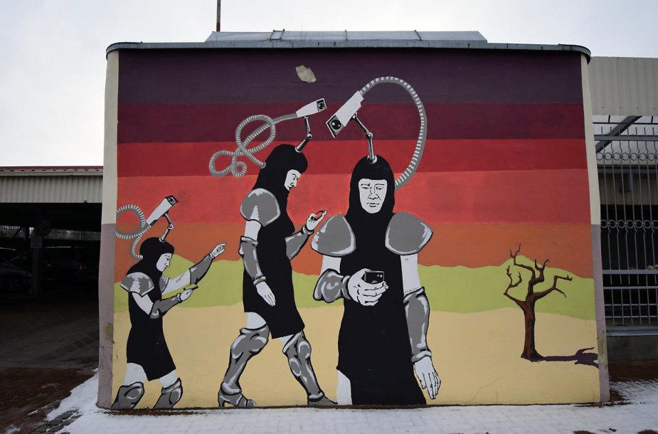 """Simpoziumo """"Malonny"""" metu sukurtas darbas """"iUrvo sienos piešiniai"""""""