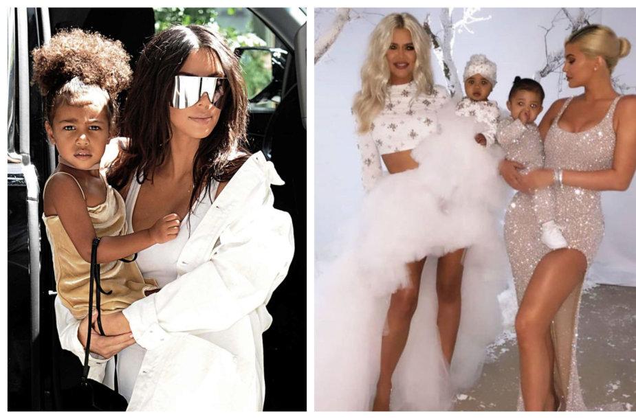 Kim Kardashian su dukra North, Khloé Kardashian su dukra True ir Kylie Jenner su dukra Stormi