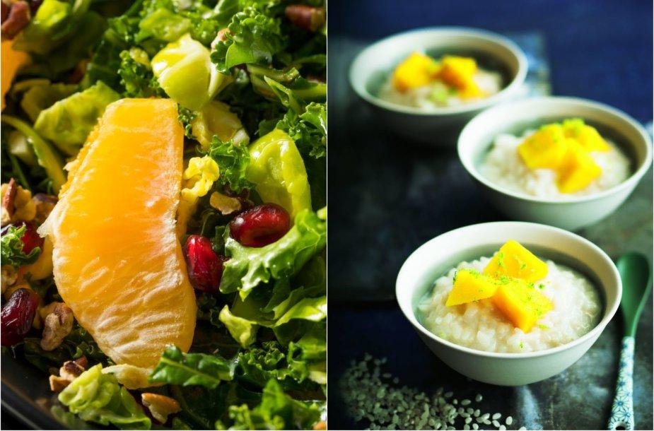 Gaivios salotos ir košė su vaisiais