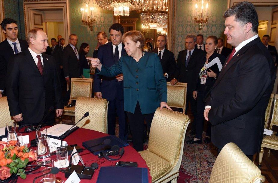 Vladimiras Putinas, Angela Merkel ir Petro Porošenka