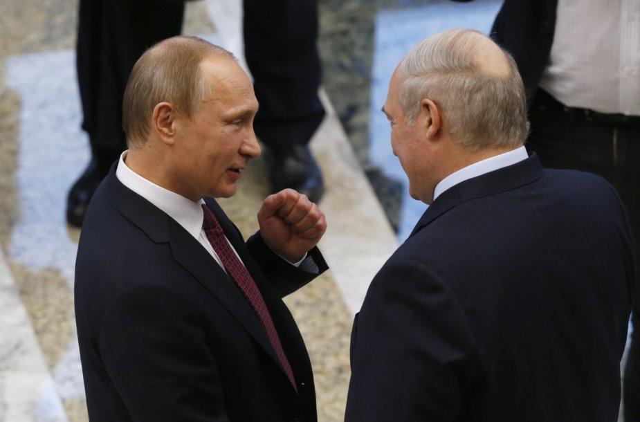 Rusijos prezidentas Vladimiras Putinas ir Baltarusijos prezidentas Aleksandras Lukašenka