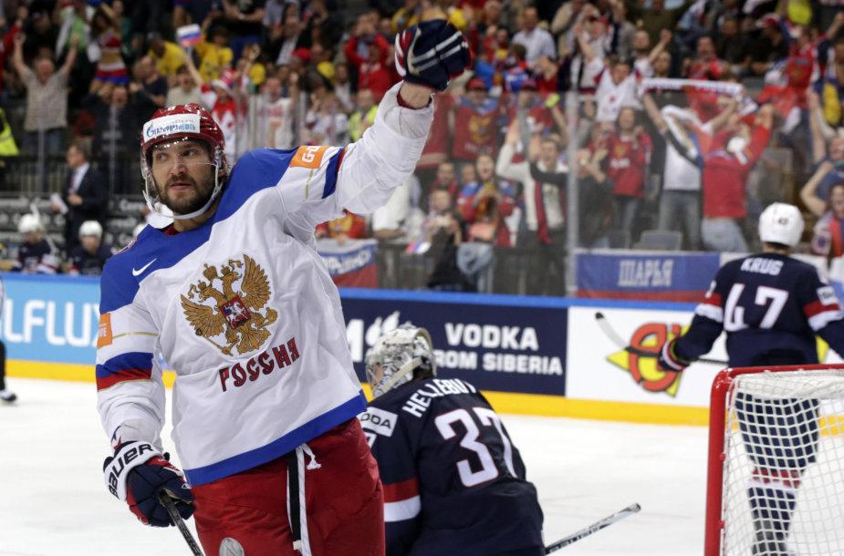 Aleksandras Ovečkinas įmušė antrąjį rusų įvartį