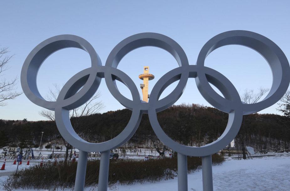 Olimpiniai žiedai Pjongčango miestelyje