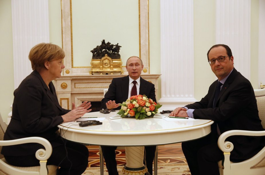 Angela Merkel, Francois Hollande'as, Vladimiras Putinas
